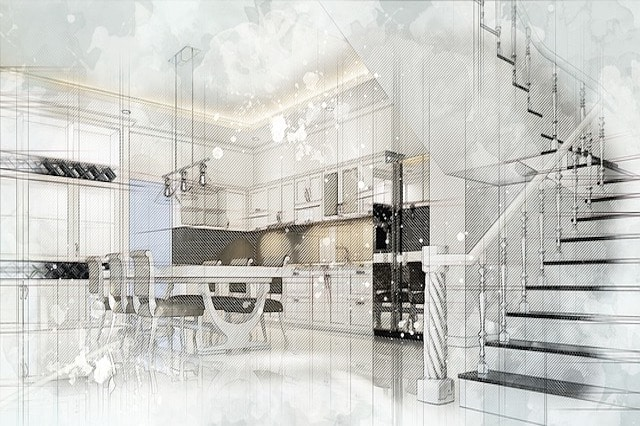A Sketched Design of a Trendy Kitchen and Stairs